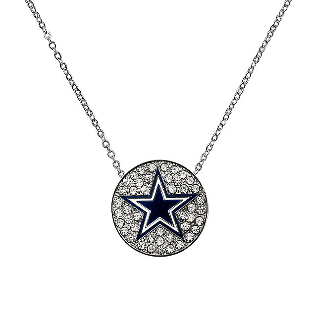 Dallas Cowboys Rhinestone Disk Star Necklace