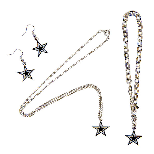 Dallas Cowboys Star Necklace Earrings and Bracelet Set