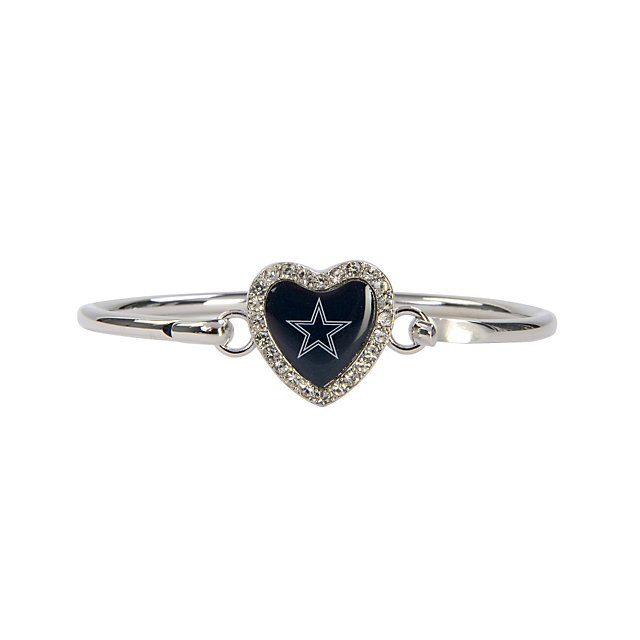 Dallas Cowboys Grace Crystal Heart Bangle Bracelet