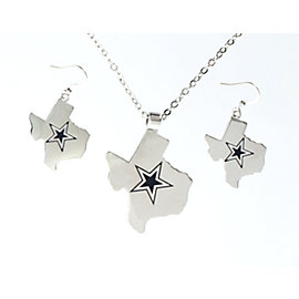 Dallas Cowboys Solid State of Texas Star Pendant and Earring Set