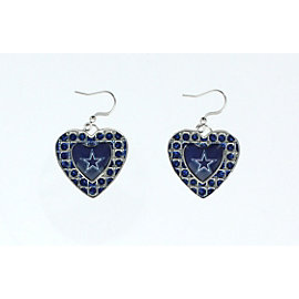 Dallas Cowboys Glitter Stone Heart Earrings