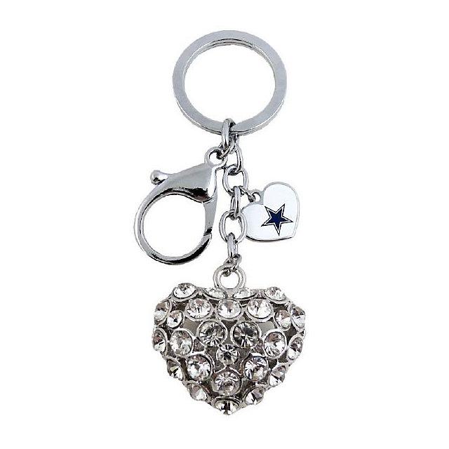 Dallas Cowboys 3D Silver Rhinestone Heart Keychain
