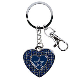 Dallas Cowboys Glitter Stone Heart Key Ring
