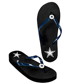 Dallas Cowboys Womens Wedge Flip Flops