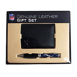 Dallas Cowboys Tri-Fold Leather Wallet Gift Set