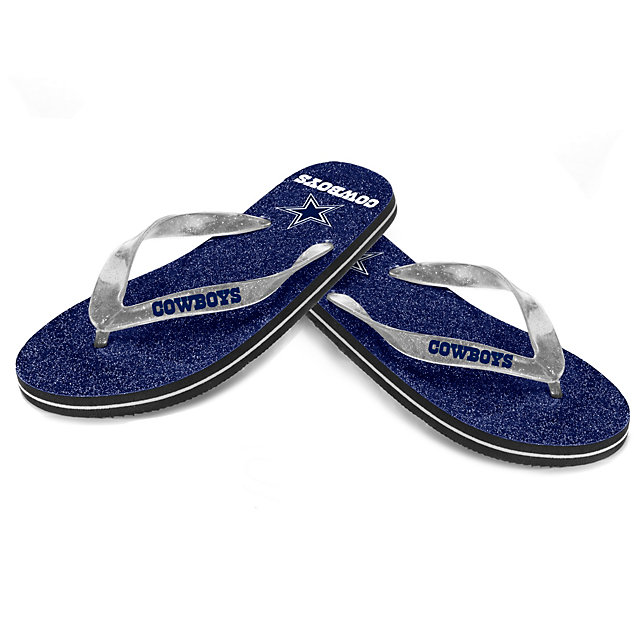 Dallas Cowboys Womens Glitter Flip Flops