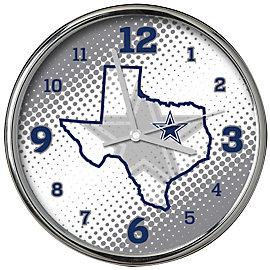 Dallas Cowboys State of Mind Chrome Clock