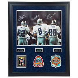 Dallas Cowboys Triplets Autographed 16x20 Framed Photo with Patches