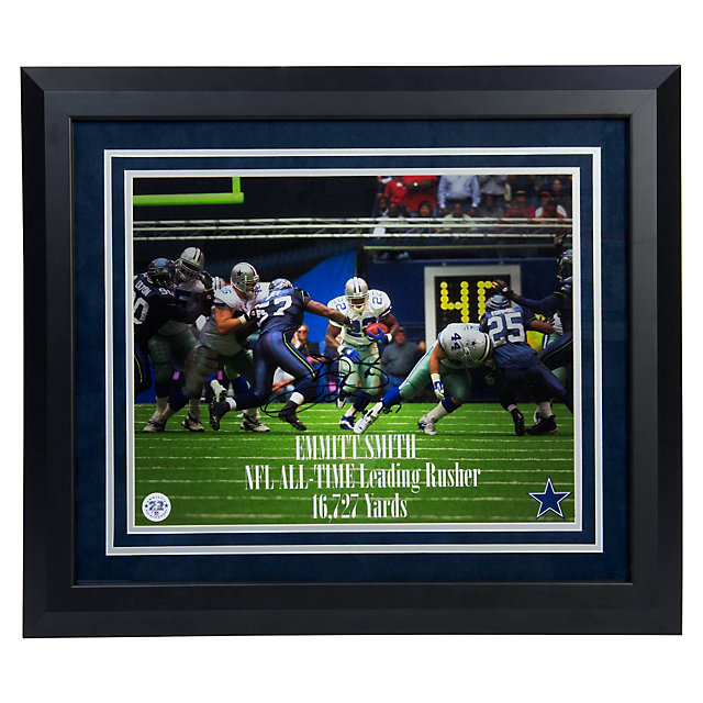 Dallas Cowboys Emmitt Smith Autographed Rushing Record Framed Photo