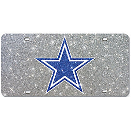 Dallas Cowboys Logo Silver Glitter License Plate