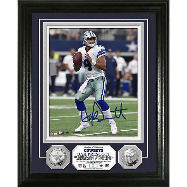 Dallas Cowboys Dak Prescott Autographed Silver Coin Photo Mint