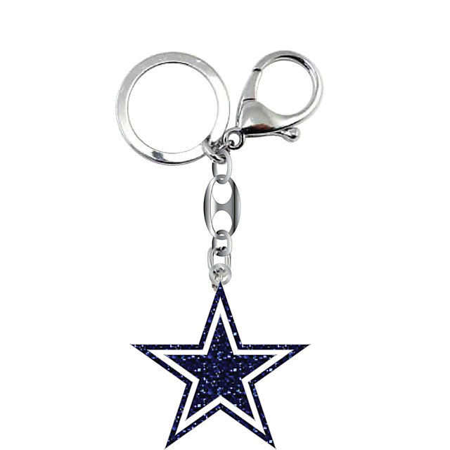 Dallas Cowboys Dark Navy Glitter Keyring