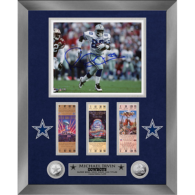 Dallas Cowboys 8 x 10 Michael Irvin Autographed Silver Coin Photo Mint