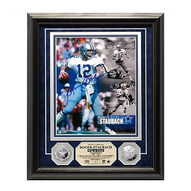 Dallas Cowboys Roger Staubach Autographed Silver Coin Photo Mint