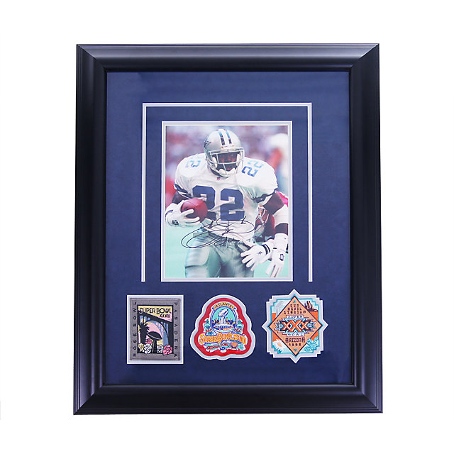 Dallas Cowboys Emmitt Smith Autographed Photo with Super Bowl Patches