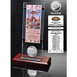 Dallas Cowboys Super Bowl 30 Ticket & Game Coin Collection Acrylic