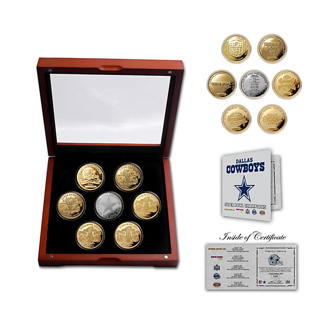 Dallas Cowboys Champions 24KT Gold Plated 7-Coin Set