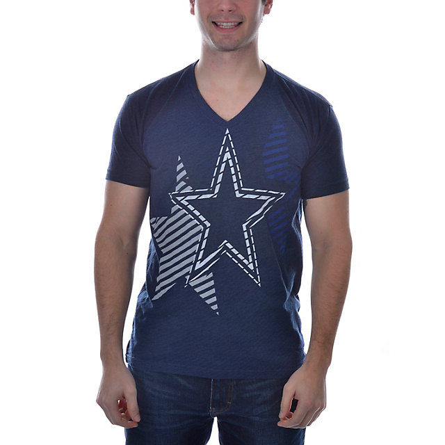 Dallas Cowboys Stripe V-Neck T-Shirt