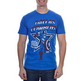 Dallas Cowboys MARVEL Captain America Star Cover T-Shirt
