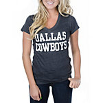 Dallas Cowboys Womens Coaches Too Triblend V-Neck Tee