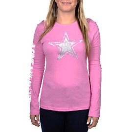 Dallas Cowboys Womens Stardust Long Sleeve Crew Tee