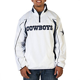 Dallas Cowboys White Half Zip Pullover Jacket