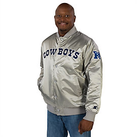 Dallas Cowboys Starter Silver Satin Jacket