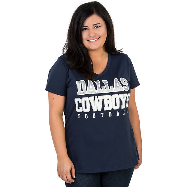 Dallas Cowboys Missy Practice Glitter V-Neck Tee