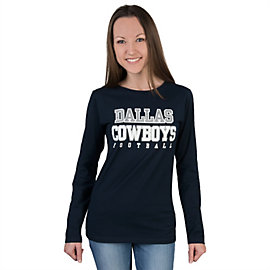 Dallas Cowboys Womens Glitter Practice Long Sleeve Tee
