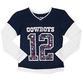 Dallas Cowboys Girls Pomeroy Layered Tee
