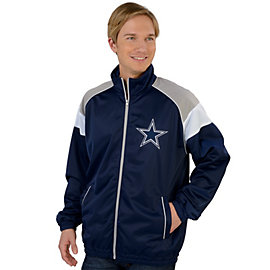 Dallas Cowboys Navy Mesh Overlay Track Jacket
