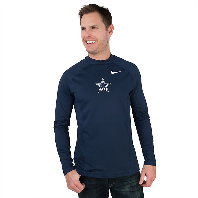 Men's Dallas Cowboys Nike Navy Hyperwarm Fitted Long Sleeve Performance T-Shirt