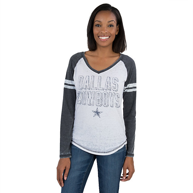Dallas Cowboys Ladies Mislap Long Sleeve Burnout Tee