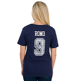 Dallas Cowboys Women's Tony Romo #9 Animal Name and Number Tee