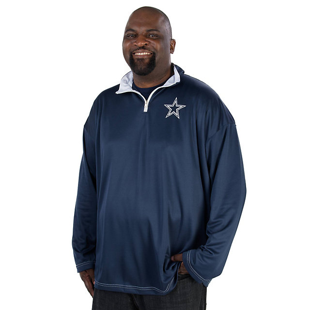 Dallas Cowboys Big and Tall Long Sleeve Quarter Zip Performance Pullover
