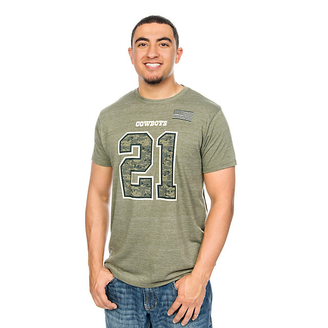Dallas Cowboys Ezekiel Elliott #21 Digi Wood Name and Number Tee