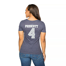 Dallas Cowboys Womens Dak Prescott #4 Dallas Name & Number Tee