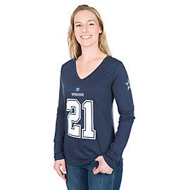 Dallas Cowboys Womens Ezekiel Elliott #21 Long Sleeve Player Tee