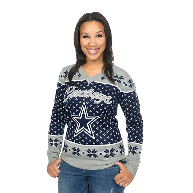 Dallas Cowboys Womens Big Logo V-Neck Ugly Sweater