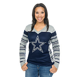 Dallas Cowboys Womens Lorex Thread V-Neck Ugly Sweater