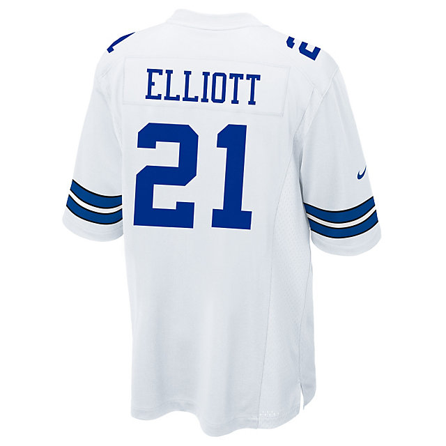 Dallas Cowboys Ezekiel Elliott Nike White Game Replica Jersey