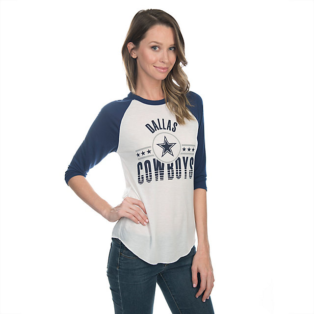 Dallas Cowboys Mitchell & Ness Womens Margin Victory Raglan Tee