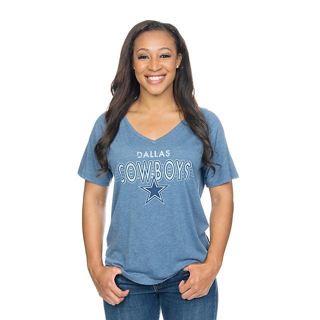 Dallas Cowboys Mitchell & Ness Women's Wordmark V-Neck Tee